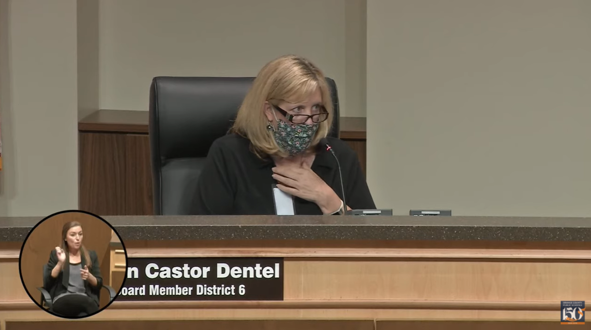 Karen Castor Dentel, OCPS 2020-08-25 – School Board Meeting. Image: YouTube screenshot /OCPS