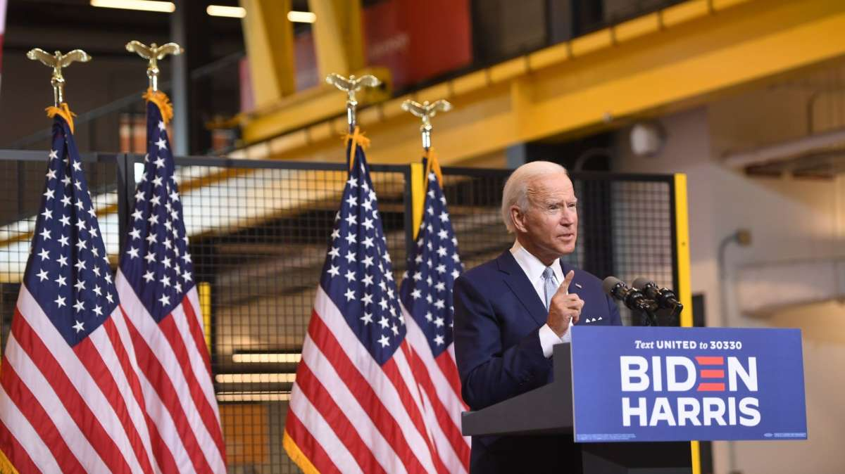 Democratic presidential nominee former US Vice President Joe Biden speaks during a campaign event at Mill 19 in Pittsburgh, Pennsylvania, August 31, 2020. (Photo by SAUL LOEB/AFP via Getty Images)