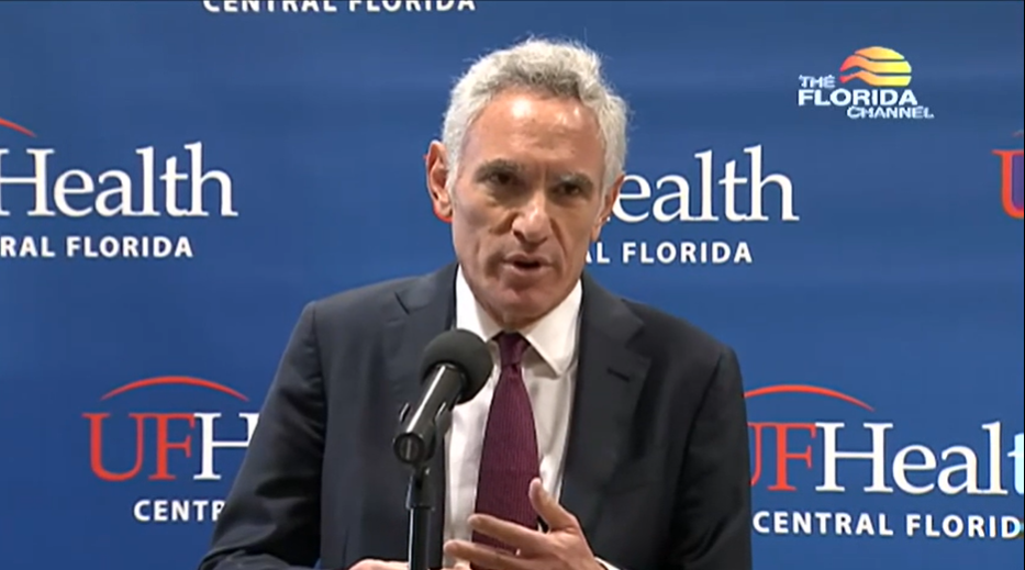 White House coronavirus task force advisor, Dr. Scott Atlas speaks to the media at a briefing at UF Health in the Villages, Monday August 31st, 2020. Screenshot: The Florida Channel.