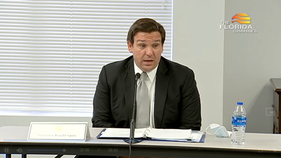 Gov. Ron DeSantis holds a round table discussion in Jacksonvillle, Tuesday September 1st, 2020. Screenshot: The Florida Channel