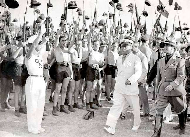Image: Benito Mussolini and Fascist Blackshirt youth in 1935, wikipedia.org