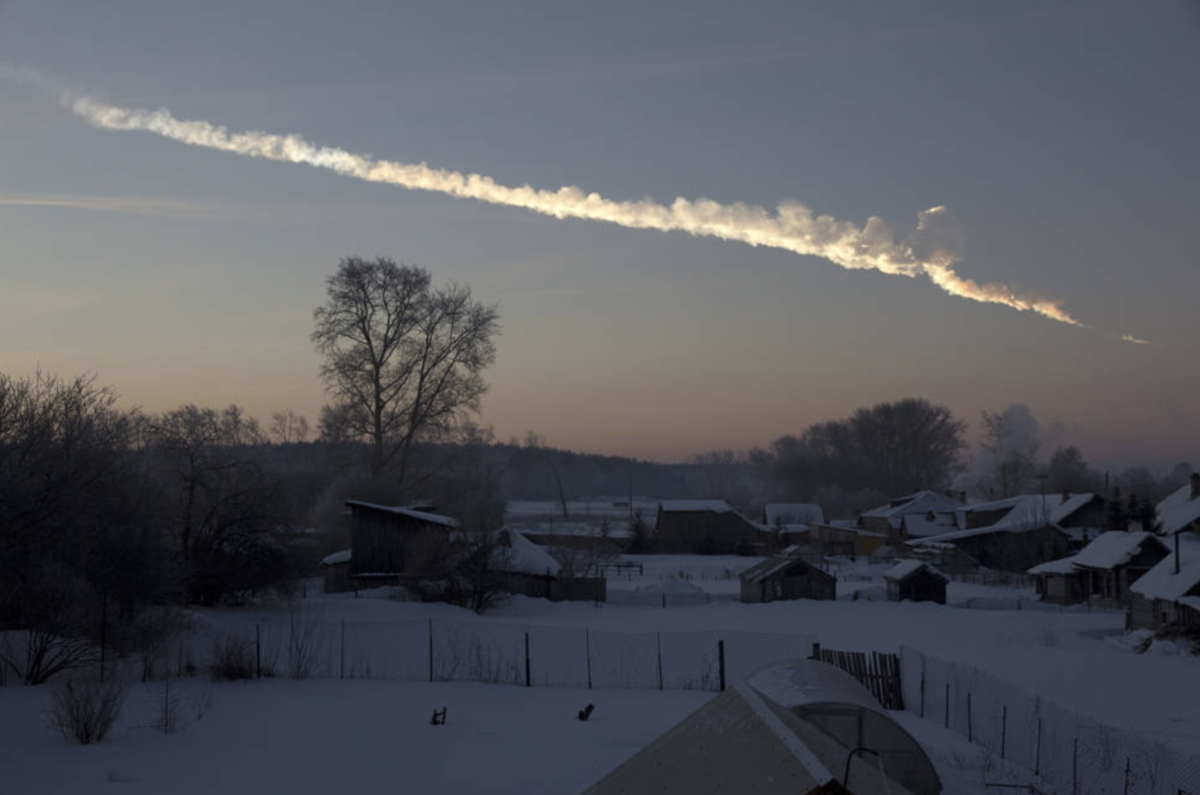 An asteroid left a trail in the sky after it flew over Chelyabinsk, Russia in 2013. Credits: NASA / Alex Alishevskikh