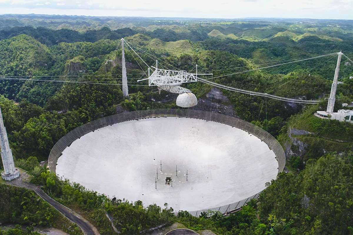 Operations at the UCF-managed Arecibo Observatory (pictured here in the spring of 2019) are stopped until repairs can be made from an incident in August that caused a 100-foot-long gash on the telescope's reflector dish. Photo: UCF