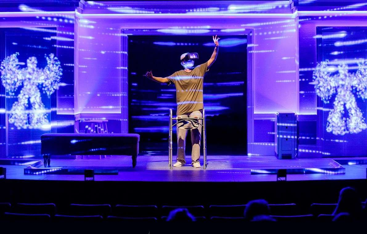 """Tricia Jane Wiles as wounded soldier Jess, finding peace in virtual reality therapy in the play """"Ugly Lies The Bone"""" at the Garden Theatre in Winter Garden. Photo by Steven Miller Photography"""