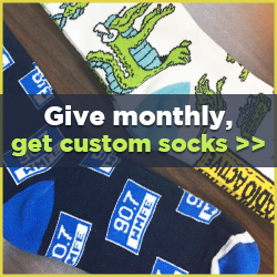 Give Monthly and Get Custom WMFE Branded Socks
