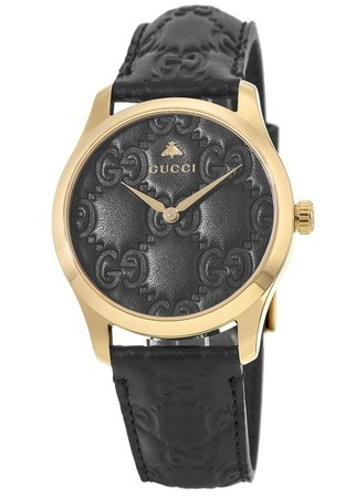 00a14c5d969 Gucci G-Timeless Gold Tone Steel Black Dial Leather Strap Women s Watch  YA1264034