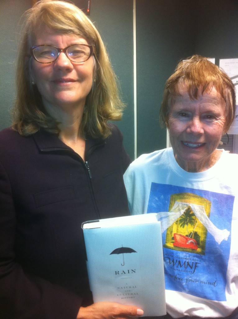 Author Cynthia Barnett in the studio with Mary after her interview for her book Rain.