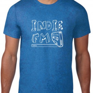 Indie FM - T-Shirt [White, Stacked, Heather Blue]