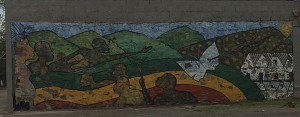 Street mural of Dynamite Hill, Abraham Woods Boulevard and 4th Street North, Birmingham, AL. Photograph by Julie Armstrong