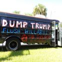 Donald Trump protest bus