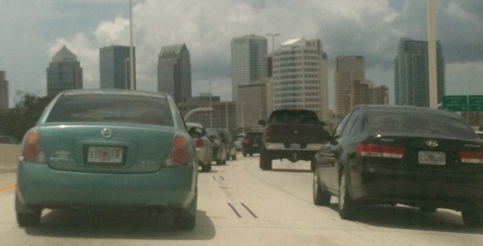 Heavy traffic on I-275 going into downtown Tampa