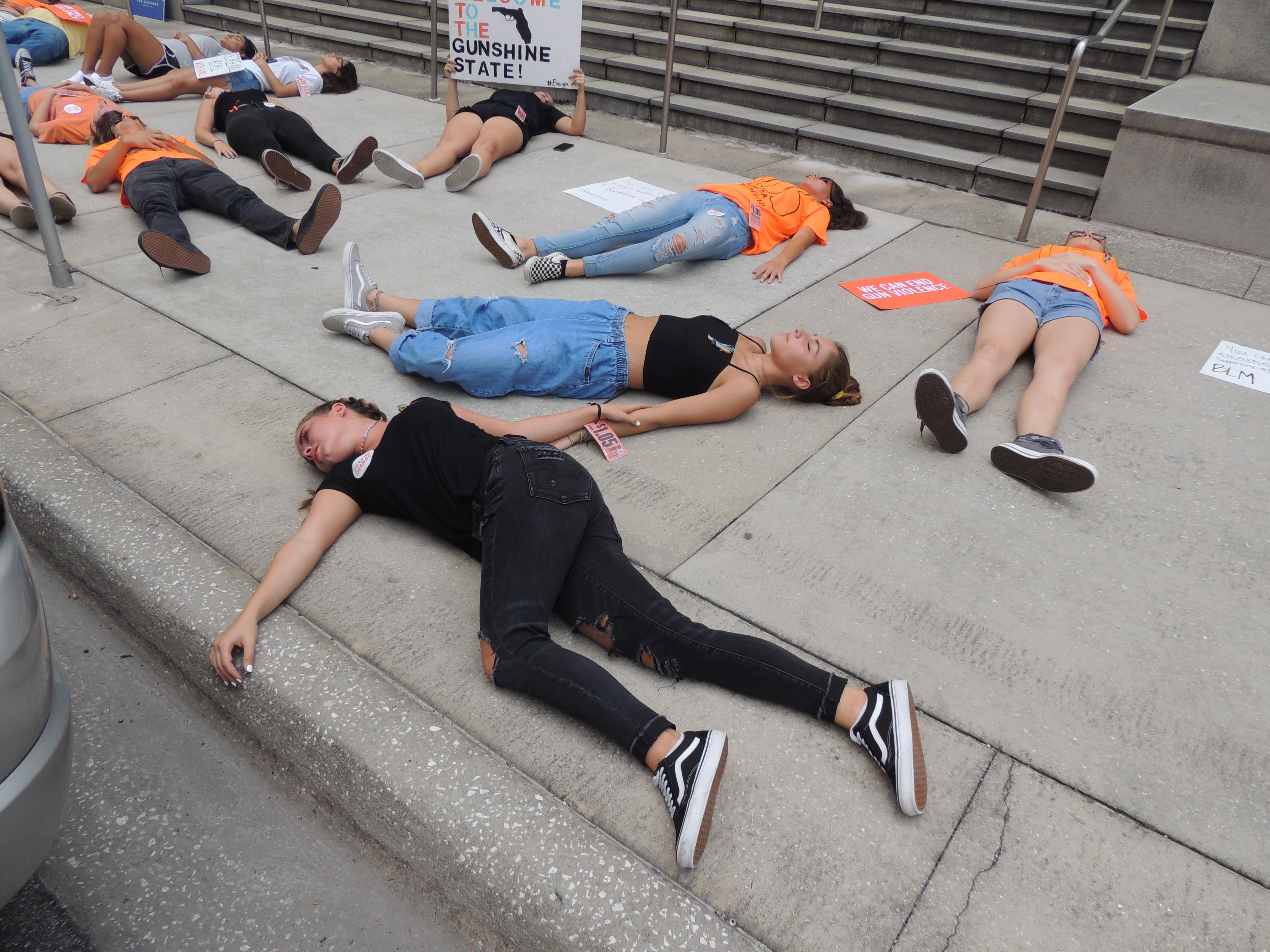 guns gun violence die-in