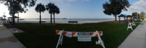 Gulfport, Florida beach panorama. The beach is closed due to social distancing measures for coronavirus