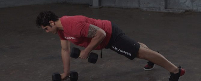 Dumbbell Renegade Row With Push