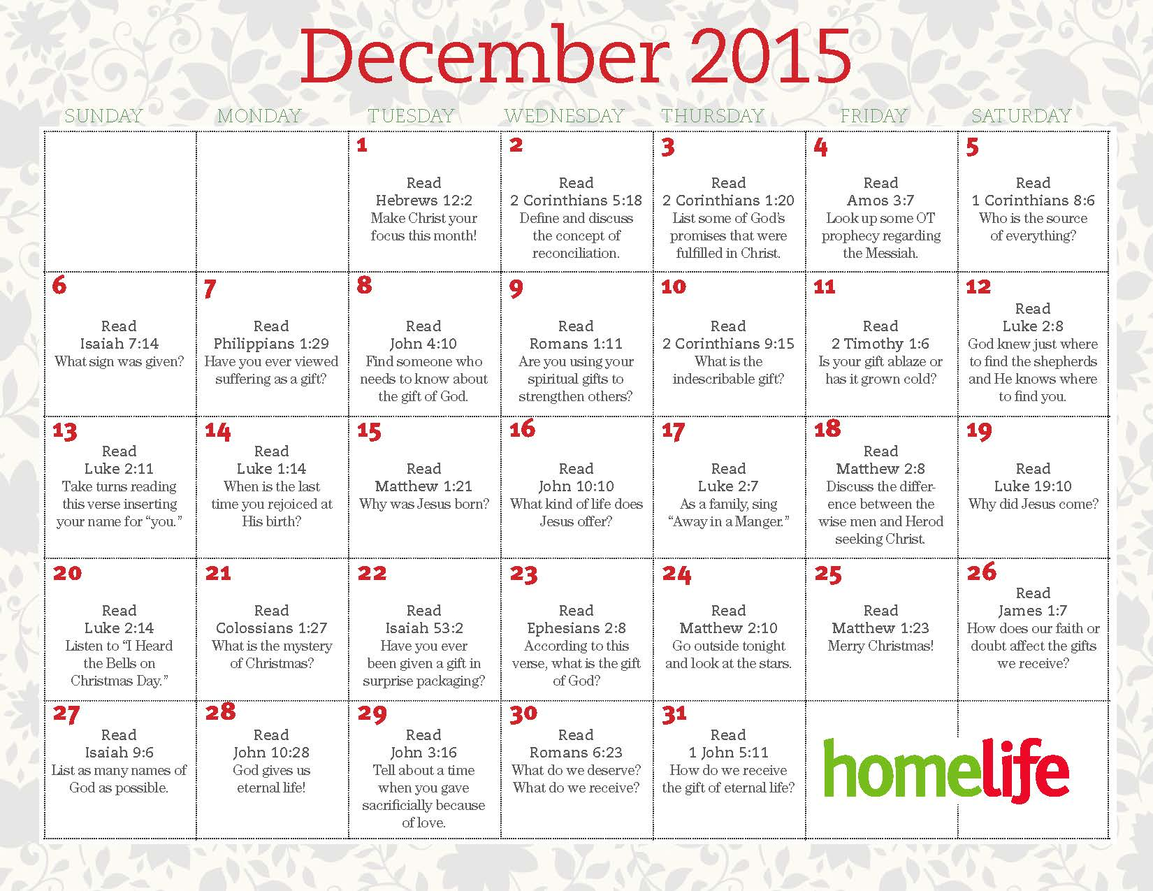 December Calendar Art : December homelife family time calendar and scripture art