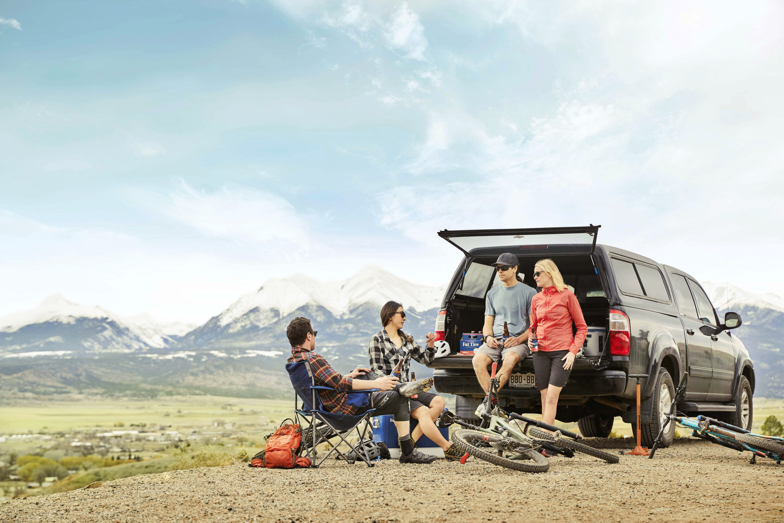 Andrew Maguire photographs bikers and hikers for a Fat Tire campaign in Colorado for New Belgium Brewing.