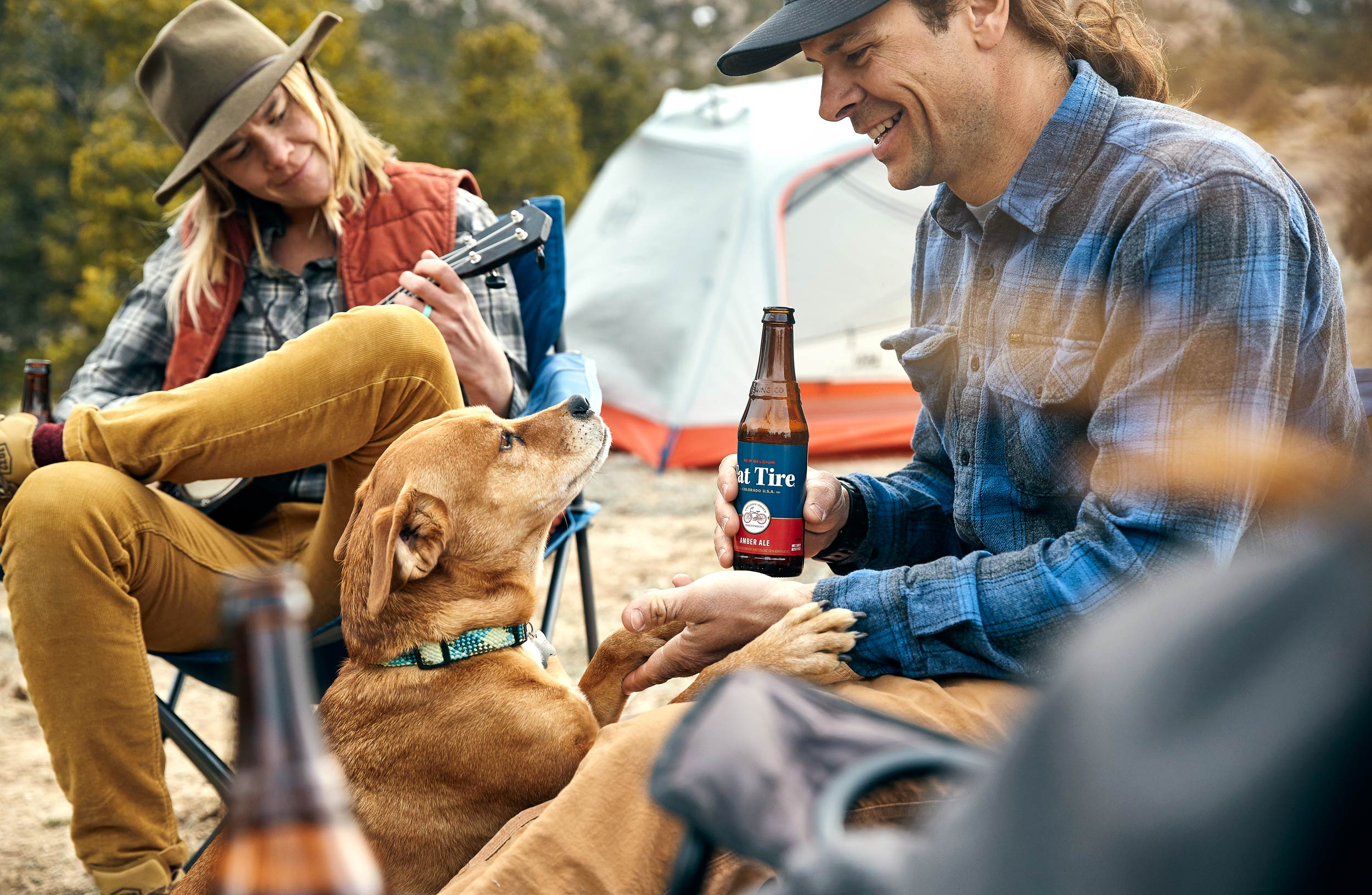Andrew Maguire photographs campers for a Fat Tire campaign in Colorado for New Belgium Brewing.