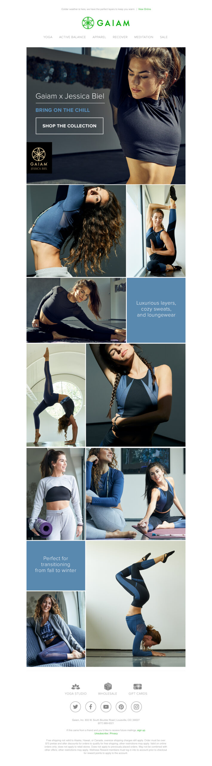 This tear sheet shows Jason Innes' shots for Gaiam in their email messaging to showcase Jessica Biel's line of clothing