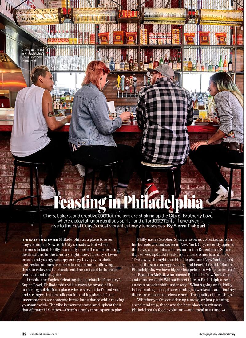 Tear sheet from Travel + Leisure Magazine on Philadelphia dining photographed by Jason Varney