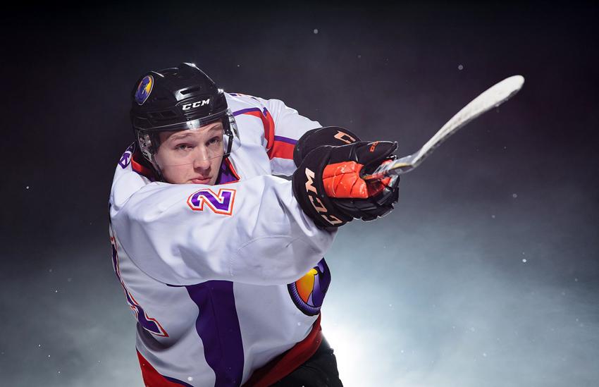 Phantoms ice hockey player taking a slapshot at Scott Galvin