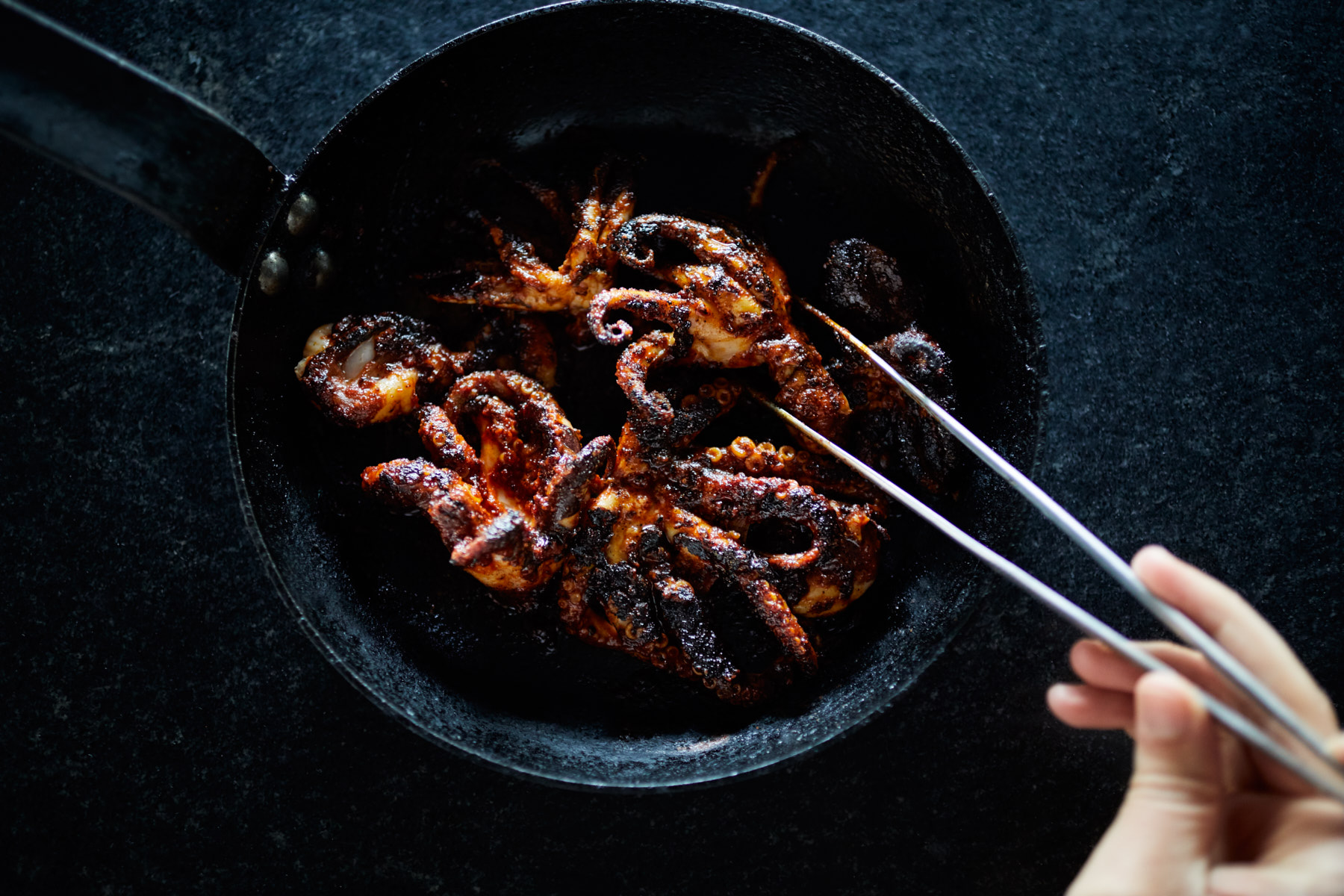 Jody Horton photographs A skillet of grilled octopus