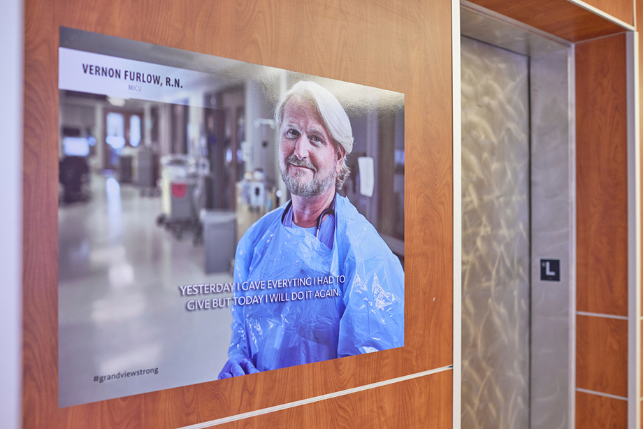 Art Meripols photo of hospital support made into a poster seen at Grandview Medical Center