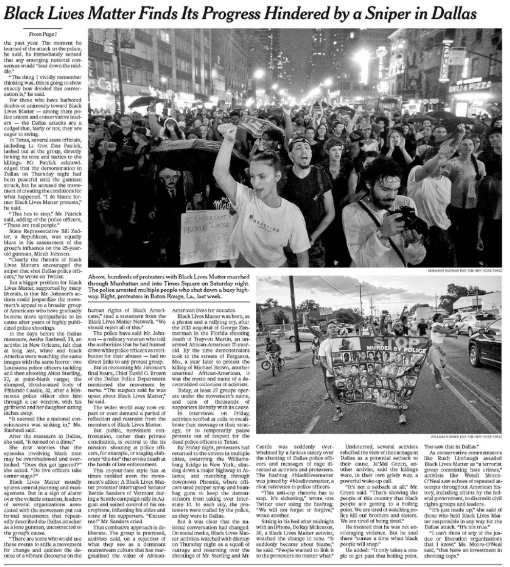 Black Lives Matter reportage New York Times