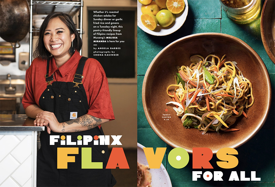 Chona Kasinger's photos of Chef Melissa Miranda and her recipes featured in Bon Appétit Magazine.