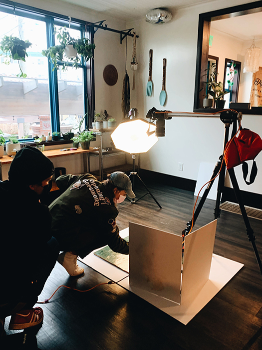 Behind the scenes during the Chona Kasinger's shoot for Bon Appetit Magazine.