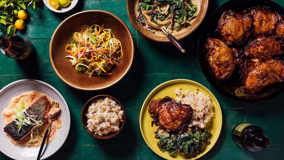 A photo featuring several of Melissa's recipes for Musang. Photographed by Chona Kasinger for Bon Appétit Magazine.