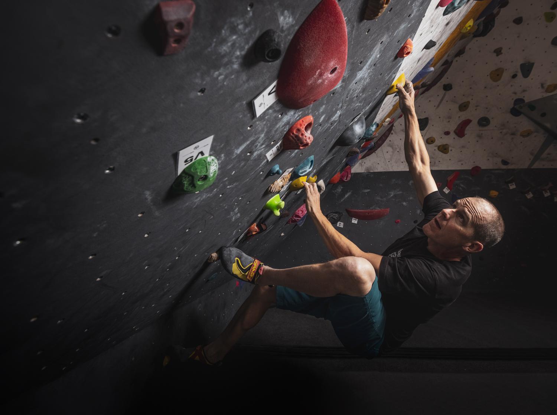 Craig Okraska photographs legendary rock climber and gym owner for the LOR Foundation