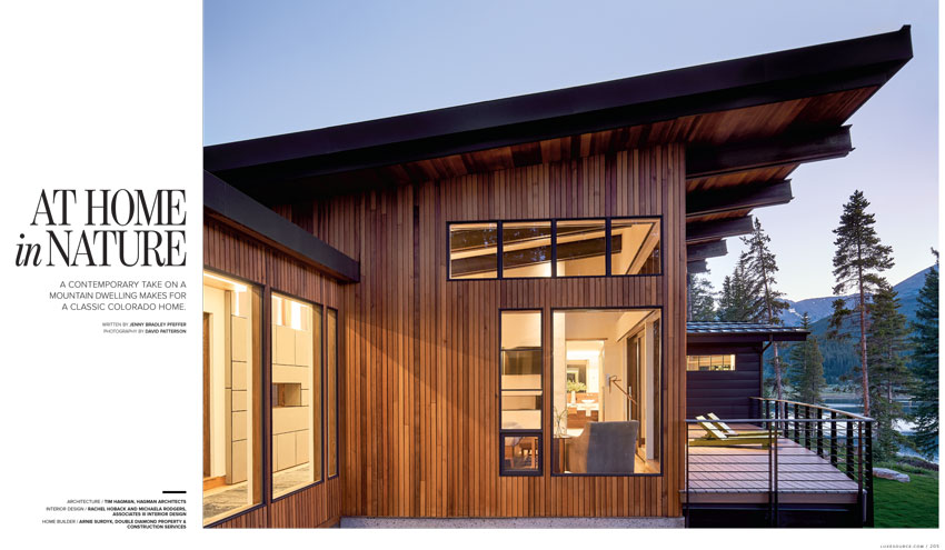 Tearsheet from Luxe Magazine featuring David Patterson's shot of a contemporary home with a mountain range in view