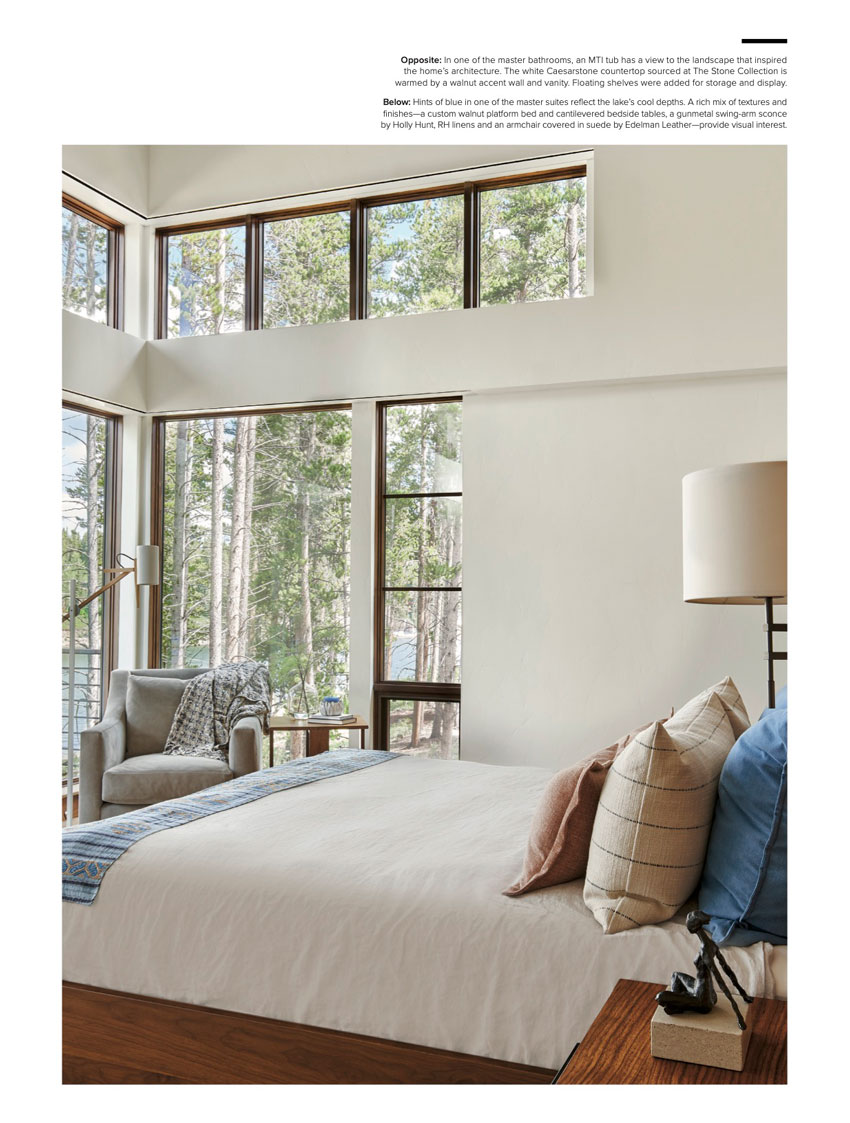 Light-filled bedroom photo from David Patterson in Luxe Magazine shows floor to ceiling windows