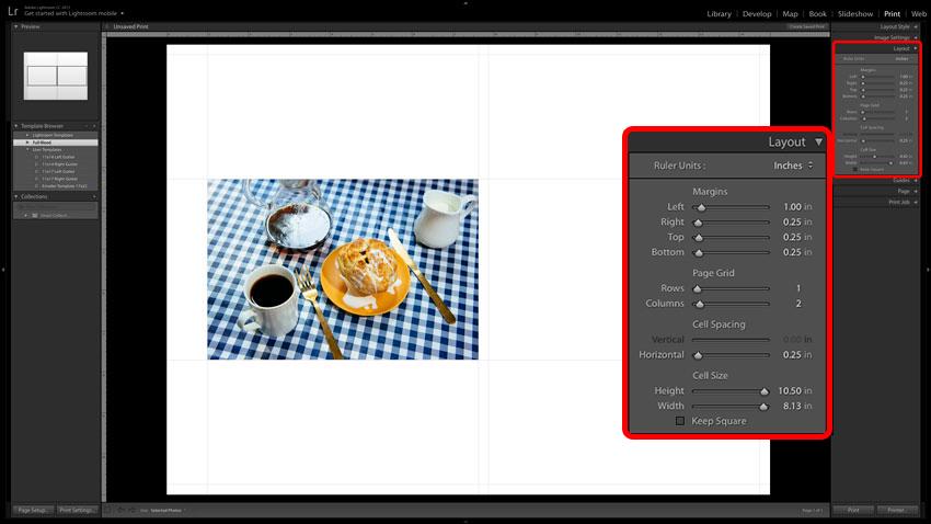 Adobe Lightroom screenshot of Print Layout