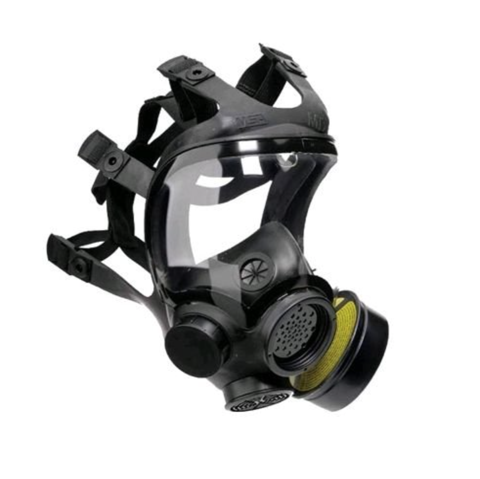 MSA gas mask for a protest