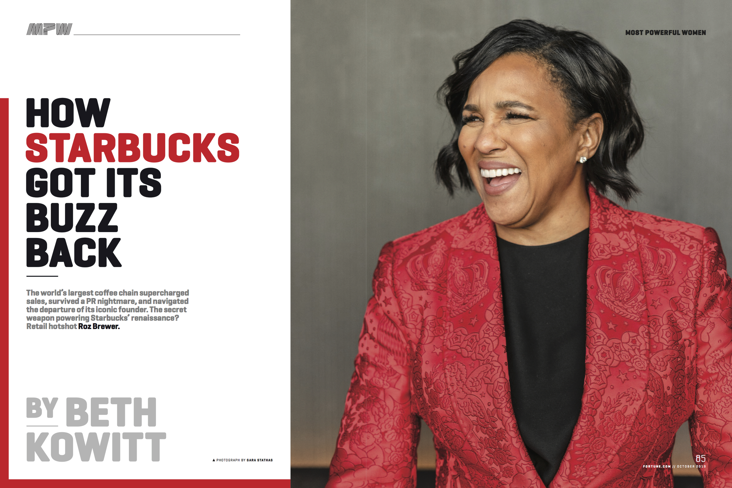Tear sheet from Fortune magazine showing Sara Stathas' portrait of Roz Brewer