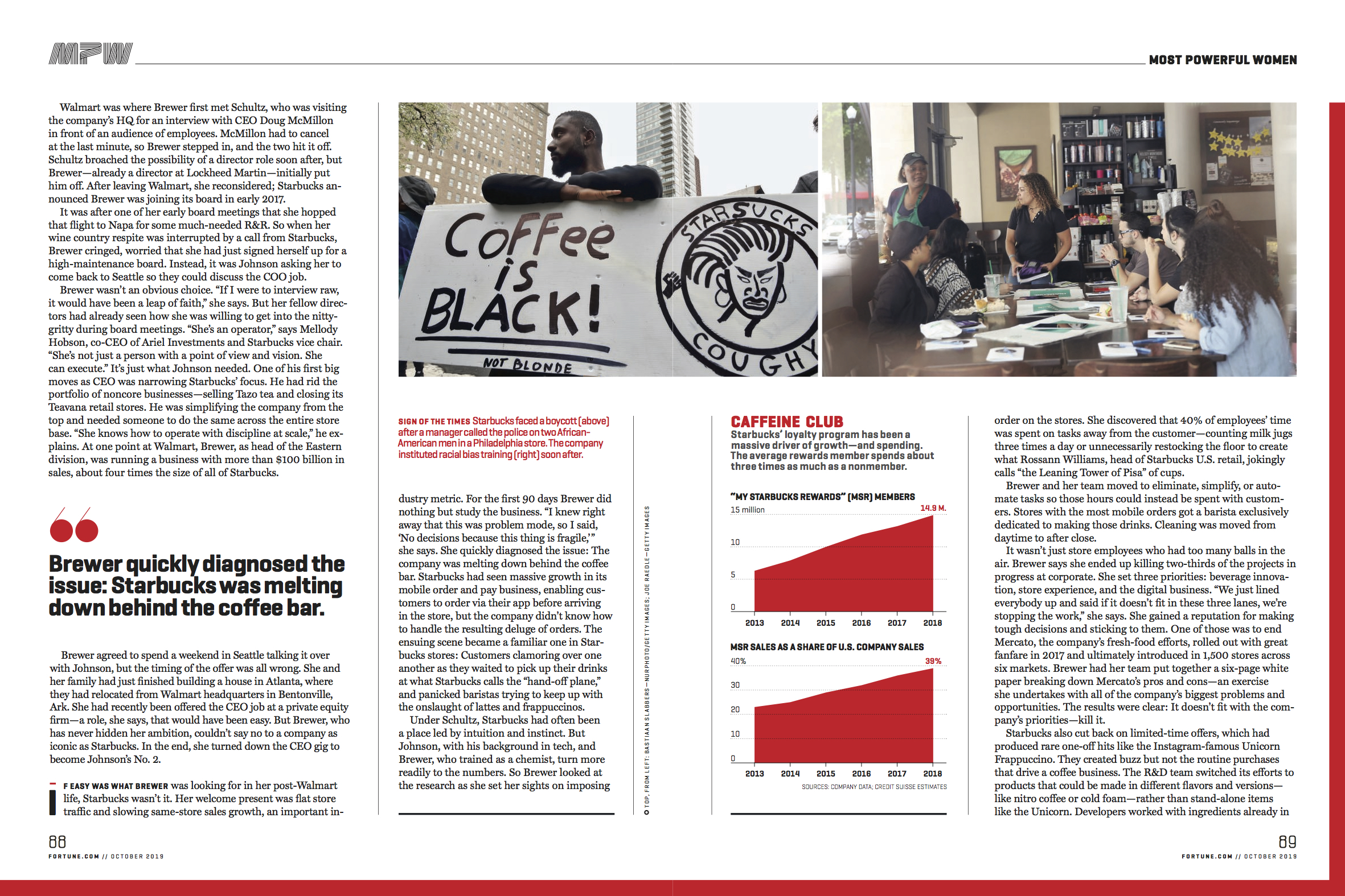 Double tear sheet from Fortune magazine shows Sara Strathas' photos from Starbucks for Fortune