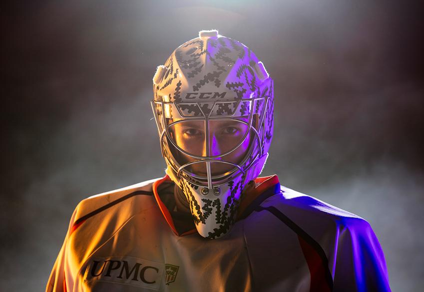 Headshot of phantoms hockey player by Scott Galvin