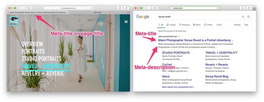 Sonya Revell's site Homepage and Google SERPs