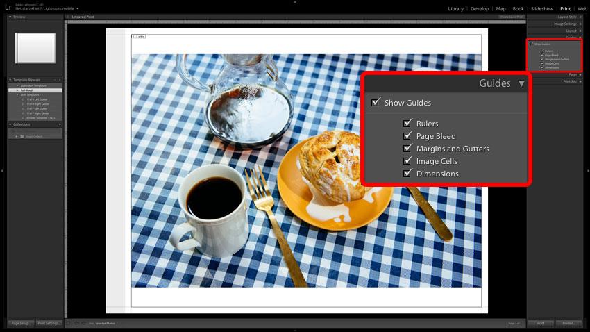 Adobe Lightroom screenshot of Print Guides