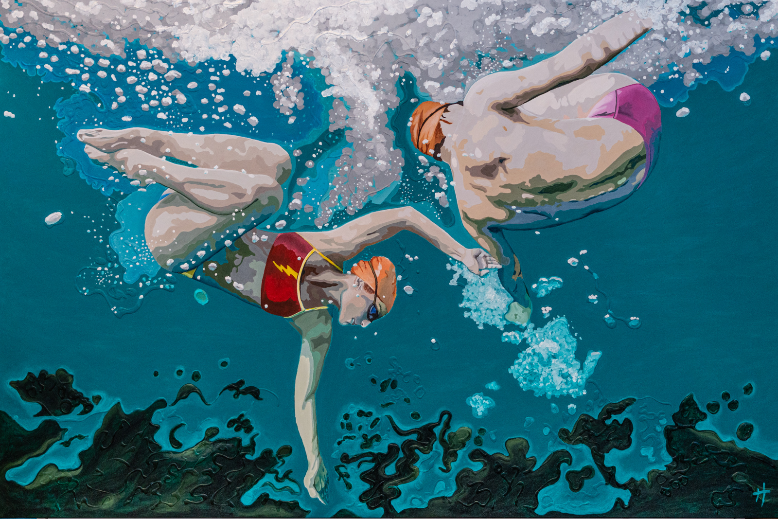 Heather Perry's underwater painting of her image of two swimmers underwater for subjects.