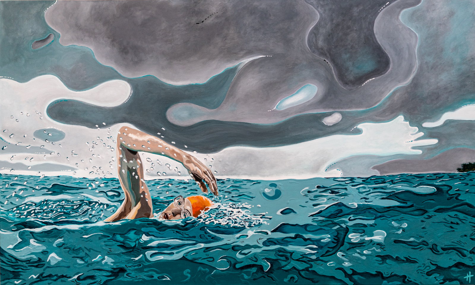 Heather Perry's underwater painting of the swimmer in a storm.