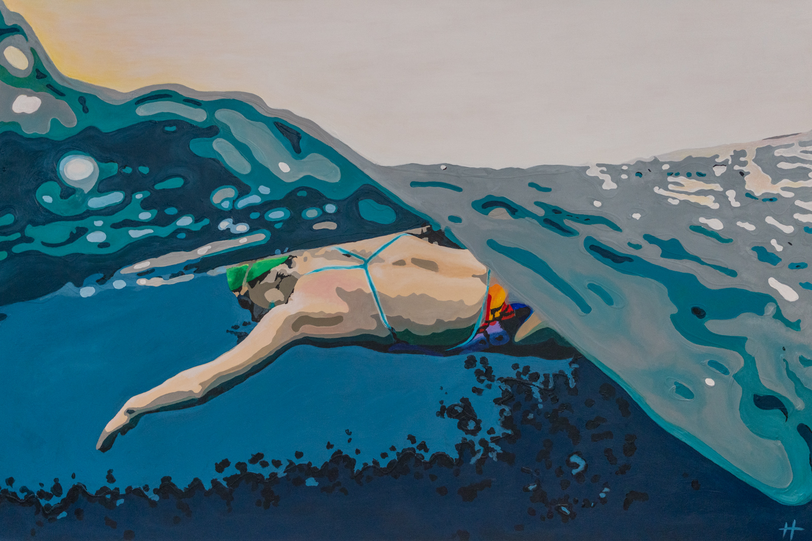 Heather Perry's underwater painting of the swimmer doing the breastroke half in and half out of the water