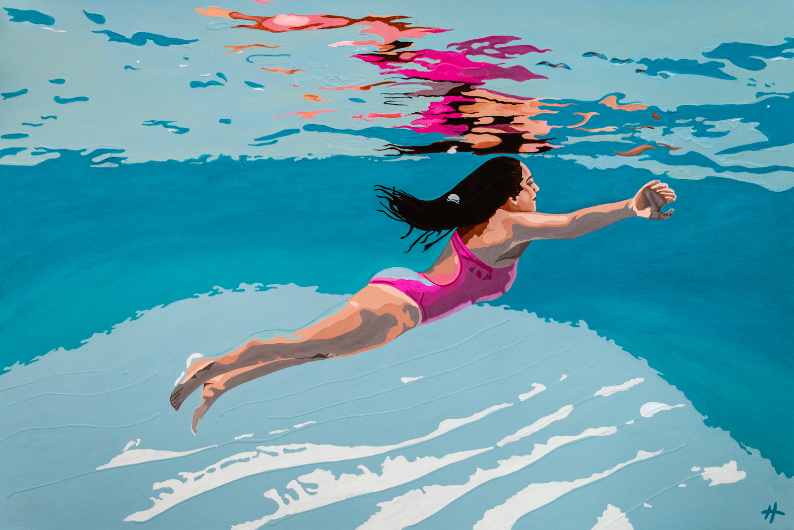 Heather Perry's underwater painting of a girl in a pink bathing suit rising to the surface, her reflection shining down on her