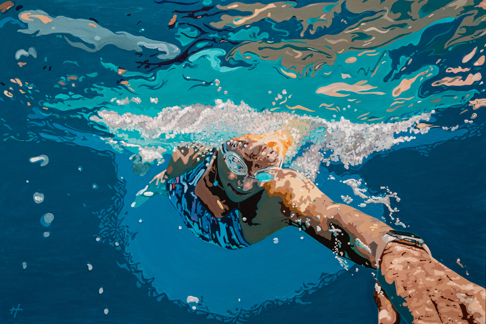 Heather Perry's underwater painting of a swimmer cutting through the water towards the viewer