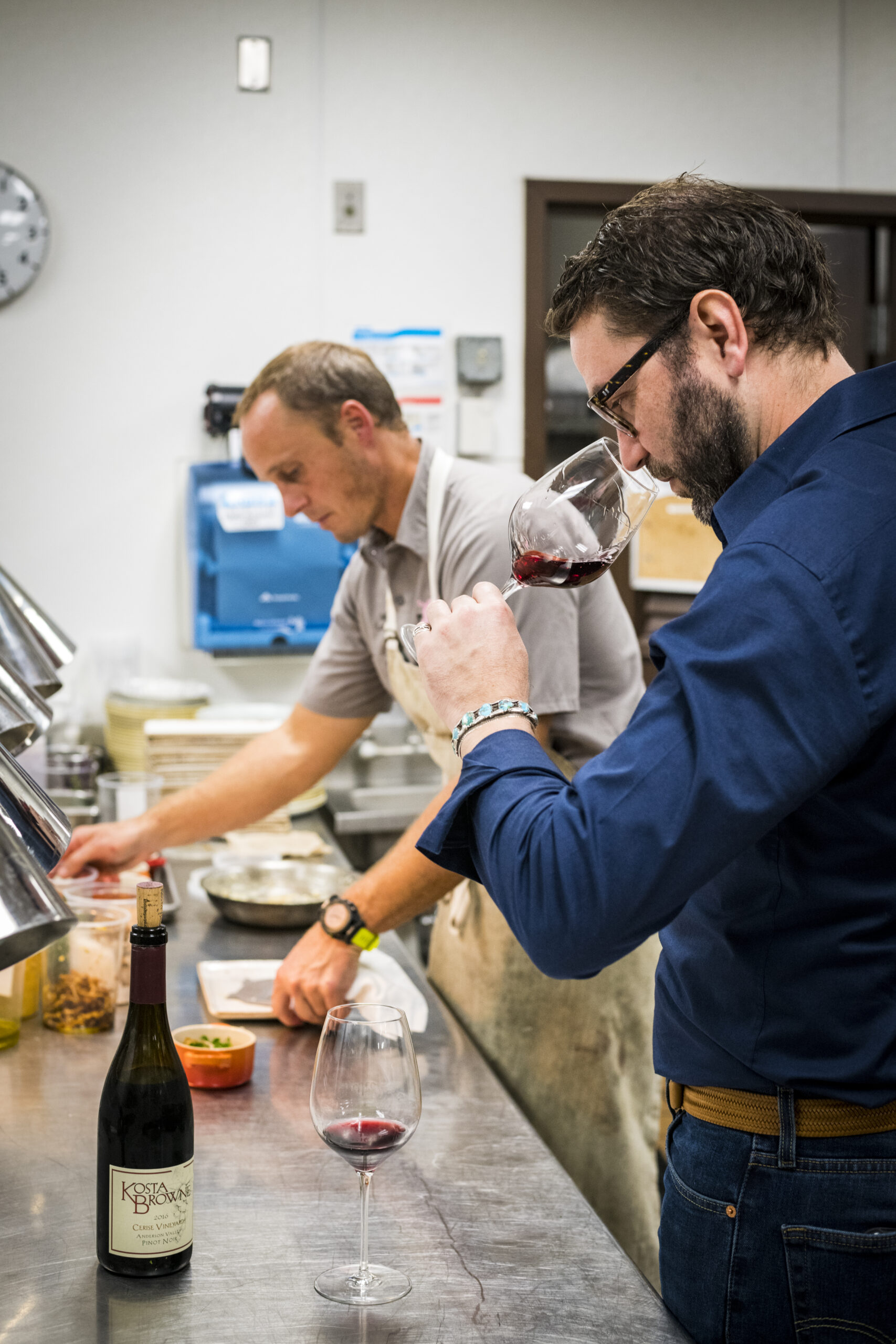 Nico the winemaker and Mike the chef go to work