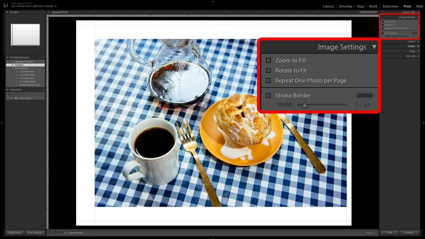 Adobe Lightroom screenshot of Print Image Settings
