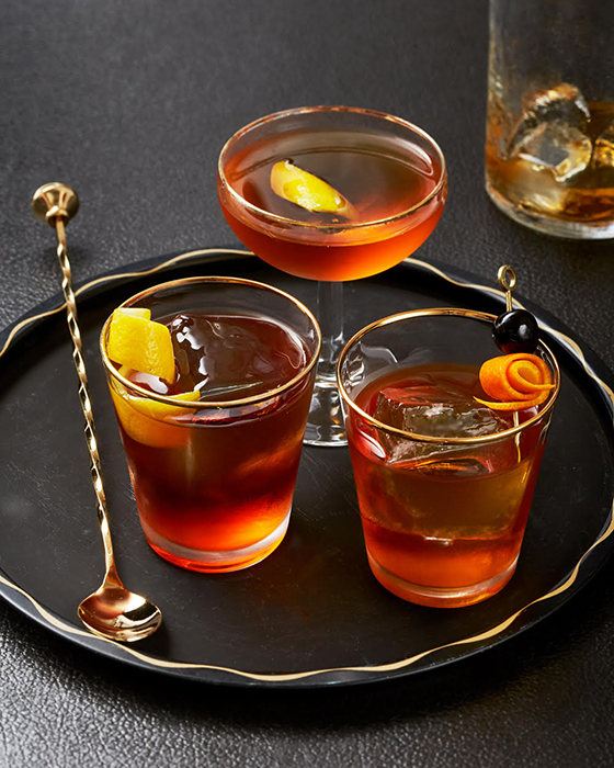 """John Valls' """"Perfect Moment"""" for Imbibe Magazine - Cocktails on a tray with a barsppon"""