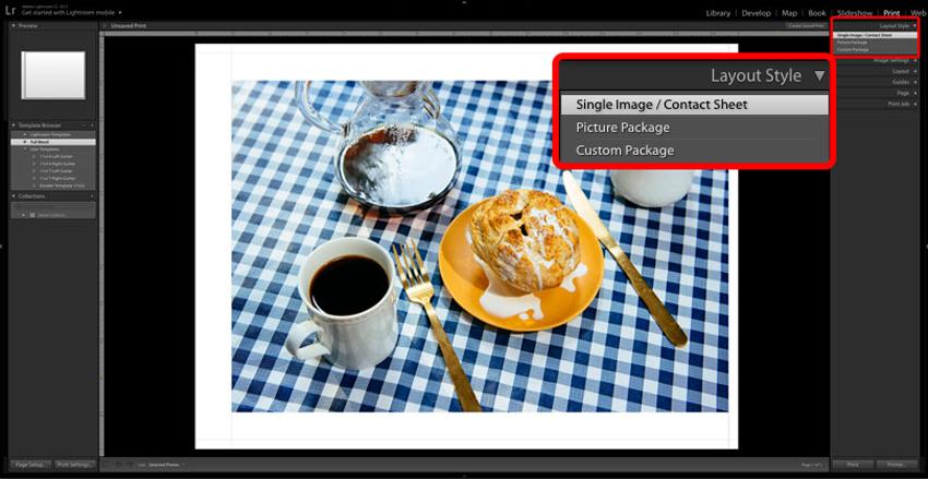 Adobe Lightroom screenshot of Print Layout Style