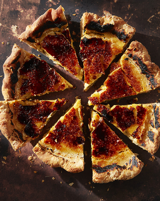 Mark Weinberg photographs a gorgeous pie cut into eighths and appearing to have bruleed top